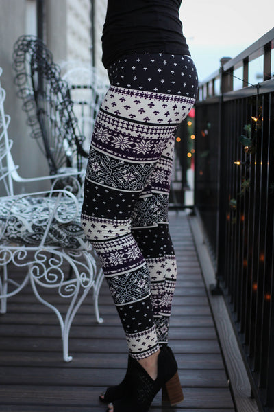 Purple and Black Snowflake Leggings