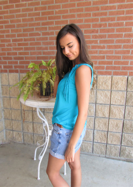 Women's Tops- Turquoise Tank Top With Fringe