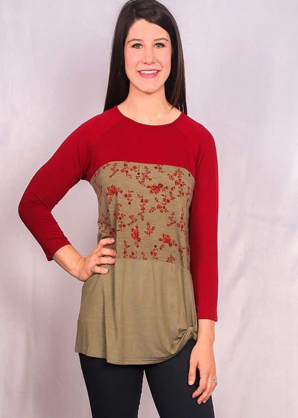 Women's Top-Burgundy, Green and Floral Colorblock Top