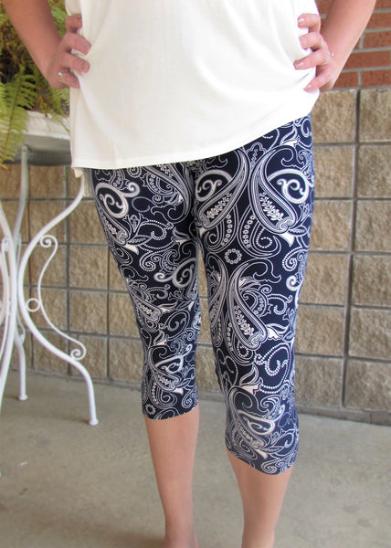Plus Size Capri Leggings- Navy and White Paisley Print Leggings