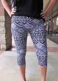 Capri Leggings- Black and White Geometric Print Capris