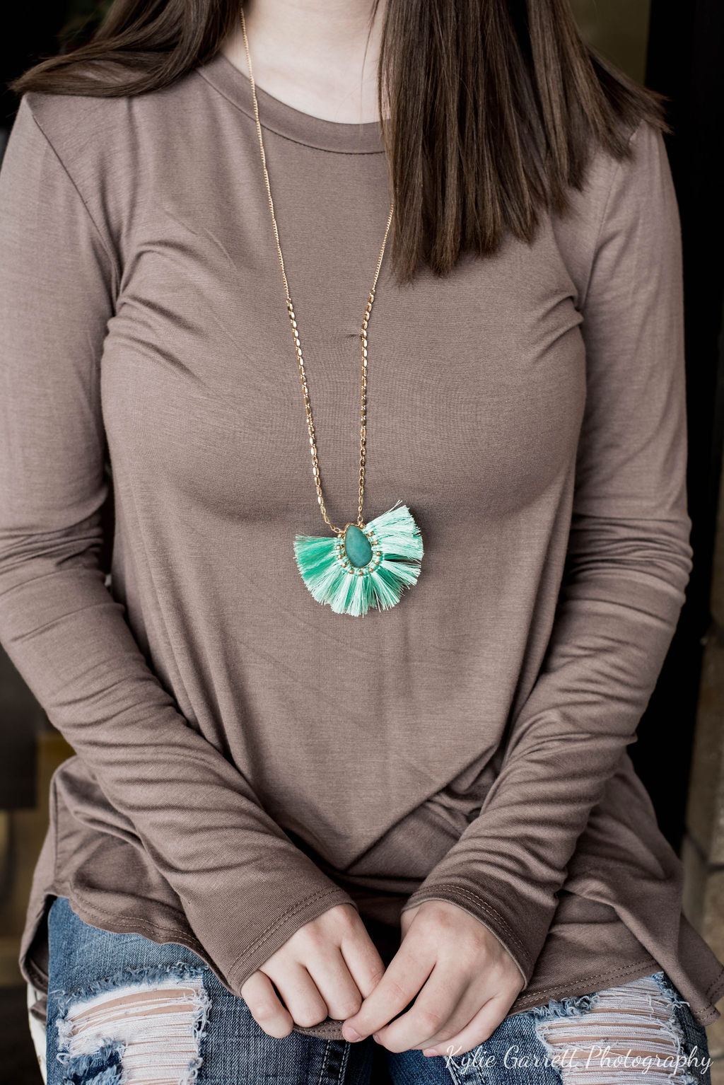 Necklaces- Teal Tassel Fan Necklace