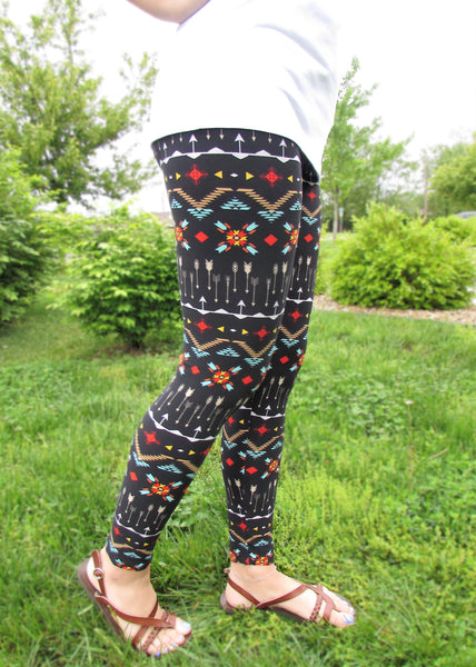 Women's Leggings- Aztec and Arrow Print Leggings
