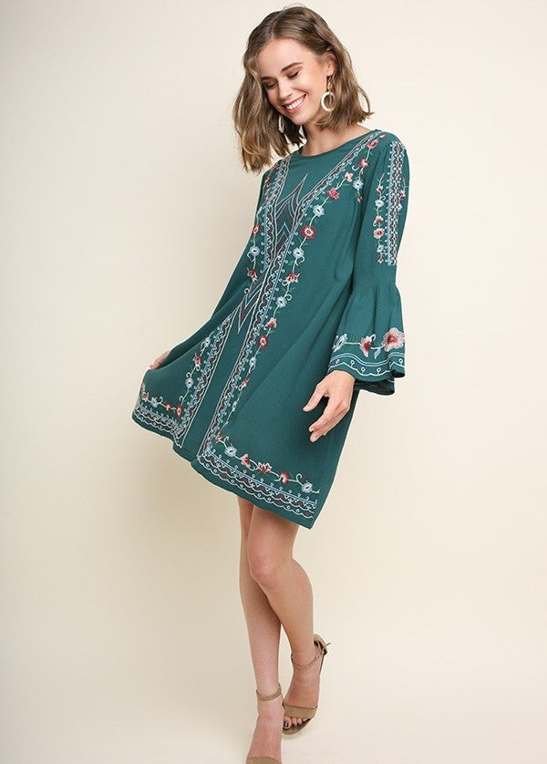 Women's Forest Green and Floral Embroidered Long Bell Sleeve Dress
