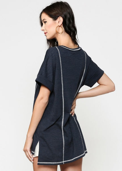 Women's Navy Button Down Knit Tunic Top with Contrasting Stitching