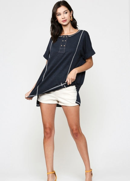 Never Alone Navy Top