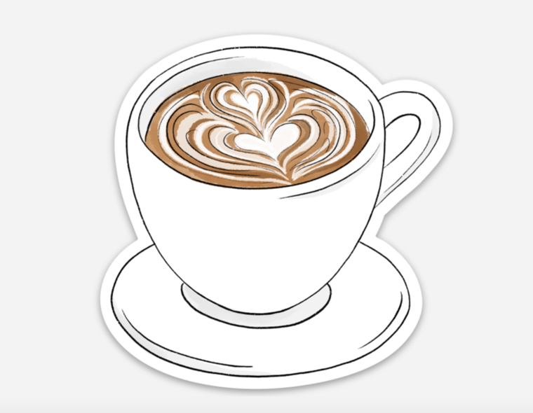 Latte Art Coffee Mug Sticker