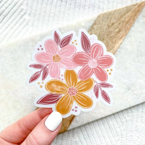 Pink and Yellow Floral Sticker
