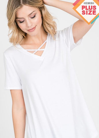 Criss Cross White Top-Curvy