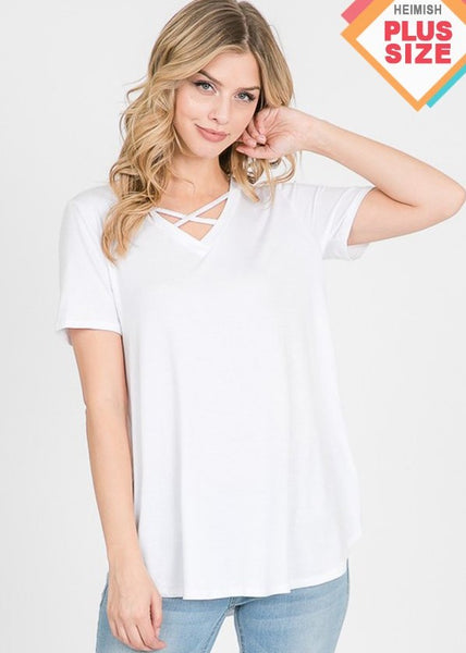 Women's plus size, solid white, short sleeve criss cross top