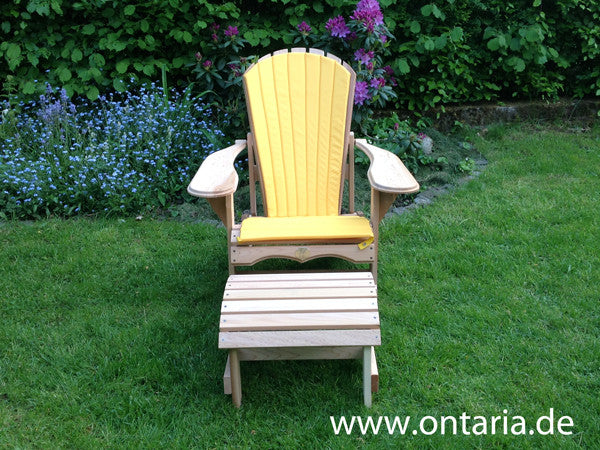 2 adirondack recliners footstool and yellow cushion