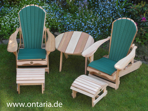 ... 2 Adirondack Chair Recliners, Footstool, Table, Green Cushion ...