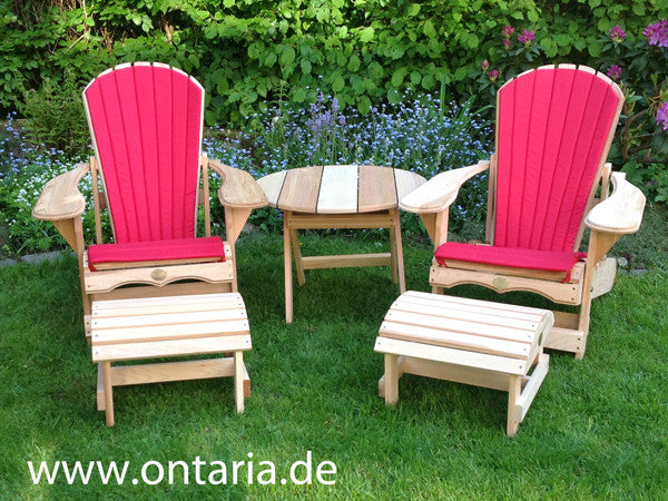 ... 2 Adirondack Chair Recliners With Footstool, Table, Red Cushion ...