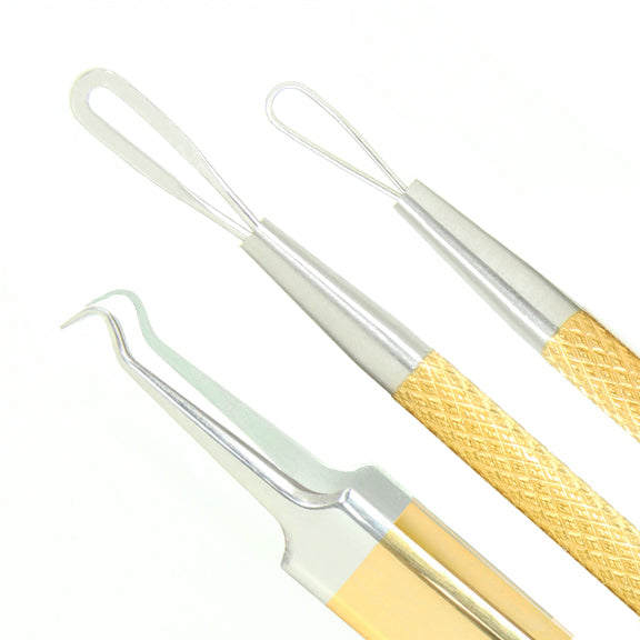 Gold & Platinum<br>Blackhead Extractor & Tweezers Set