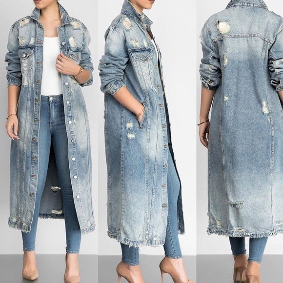 4c40a40ad576 Long Distressed Denim Jacket-CLEARANCE SALE! – Rag   Muffin