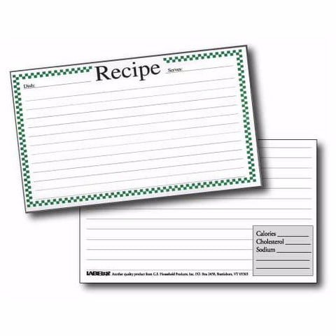 Labeleze Recipe Cards with Protective Covers 3 x 5 - Green Checks