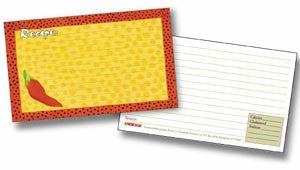 Labeleze Recipe Cards with Protective Covers 3 x 5 - Chili Pepper