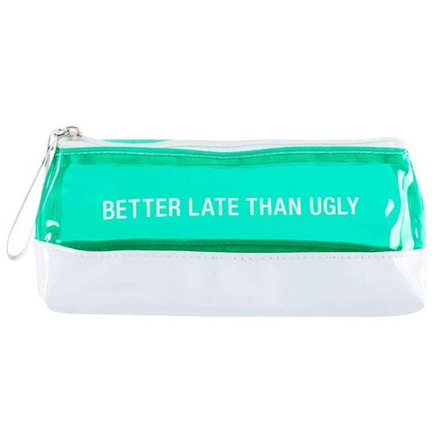 About Face Designs Vinyl Cosmetic/Pencil Bag - Better Late