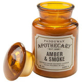 Paddywax Apothecary Jar Candle 8 Oz. - Amber & Smoke