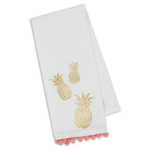 Design Imports Kitchen Towel - Pineapple Pompom Printed