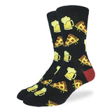 Good Luck Sock Men's Crew Socks - Pizza & Beer
