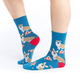 Good Luck Sock Women's Crew Socks - Corgi Pizza