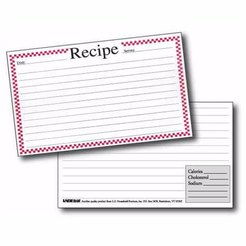 Labeleze Recipe Cards with Protective Covers 3 x 5 - Red Checks