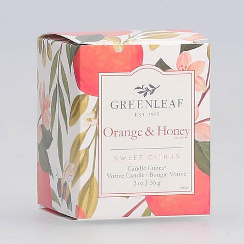Greenleaf Gifts Candle Cube Boxed Votive Pack of 4 - Orange & Honey