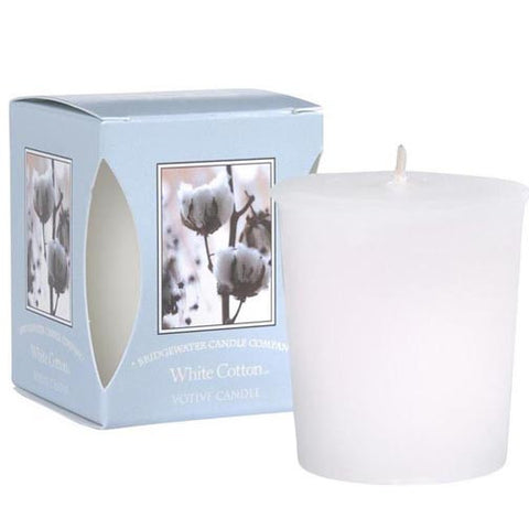 Bridgewater Candle Boxed Votive Pack of 4 - White Cotton