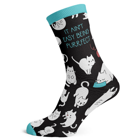 Sock Atomica Unisex Cotton Blend Socks - It Ain't Easy Being Purrfect