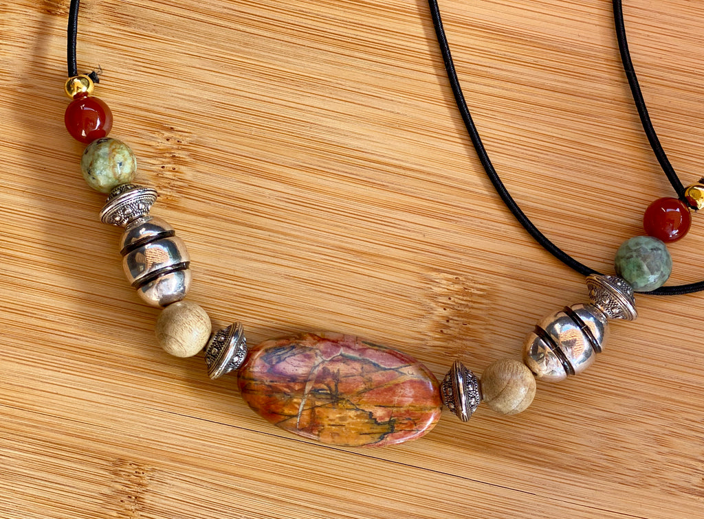 LANDING ON A BED OF ROSES Picasso Jasper & Carnelian Gemstone Hairtie
