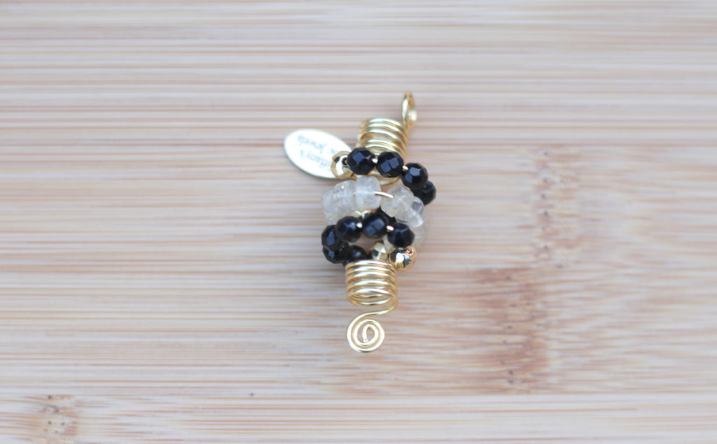 FLAX WHITE CHERRY QUARTZ & BLACK ONYX Loc Jewel - TIFFANY'S LOC JEWELS