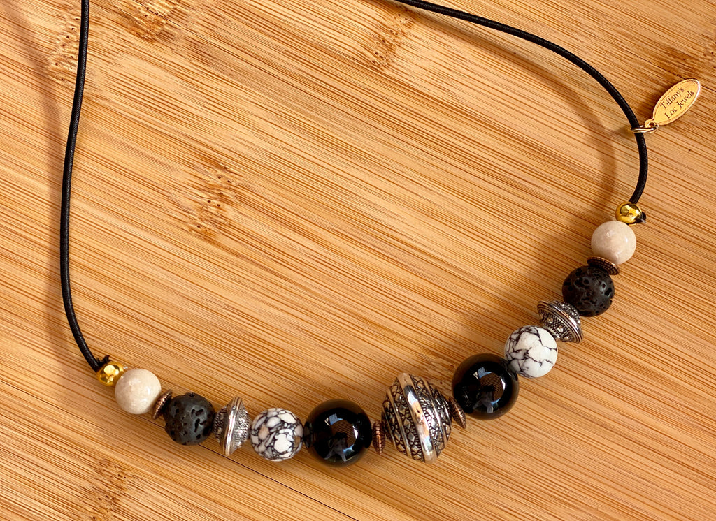 ELEMENT NAVIGATION Blackstone Lava & Riverstone Gemstone Hairtie