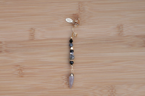 ASH GREY & GOLD BLACK SILVER LEAF JASPER SPIKE Loc Jewel - TIFFANY'S LOC JEWELS