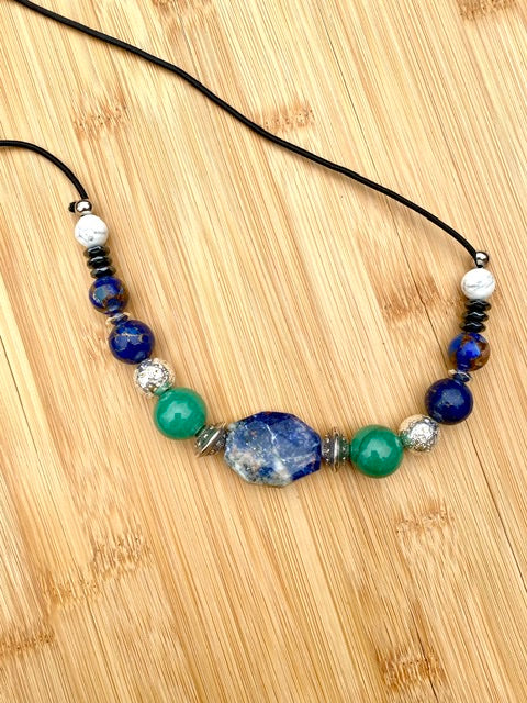 HITTING ROCK BOTTOM Lapis Lazuli & Green Jasper Gemstone Hairtie - TIFFANY'S LOC JEWELS