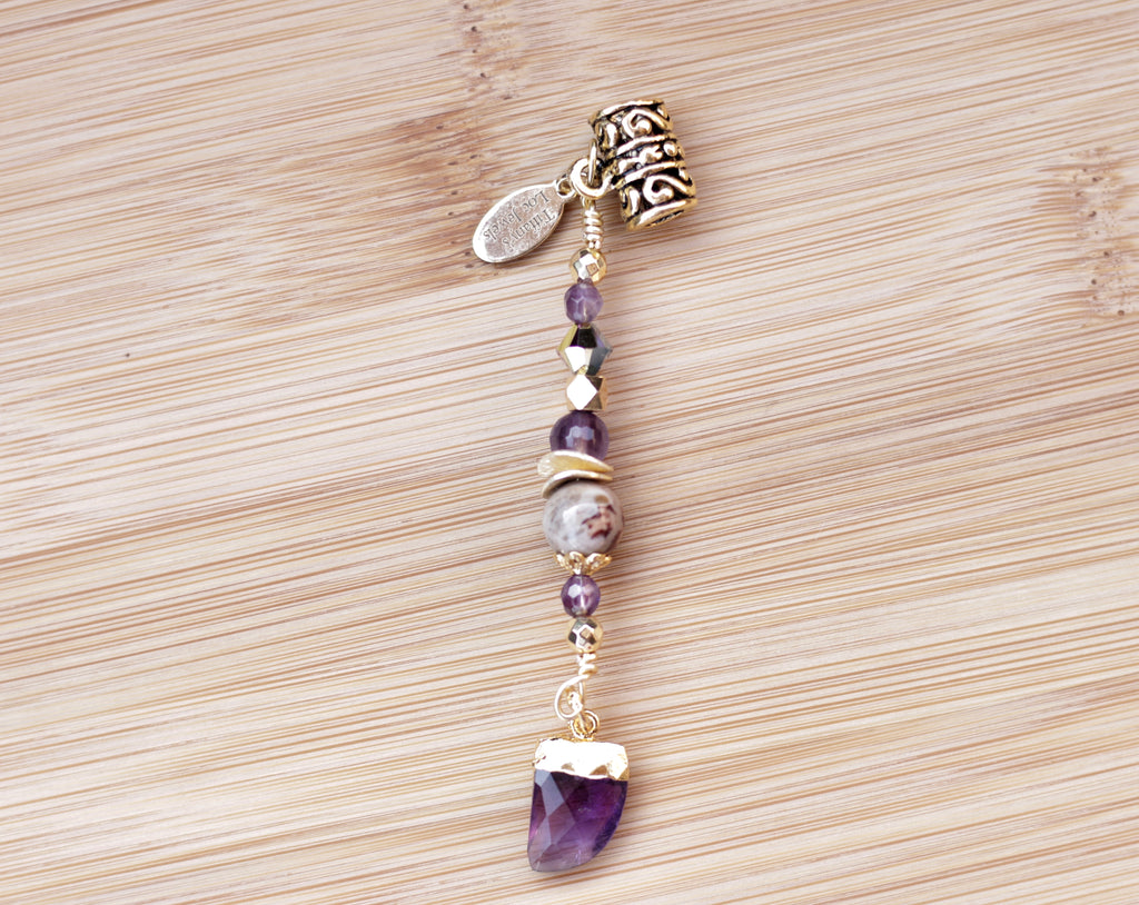ORCHID PETRIFIED WOOD & AMETHYST HORN Loc Jewel - TIFFANY'S LOC JEWELS