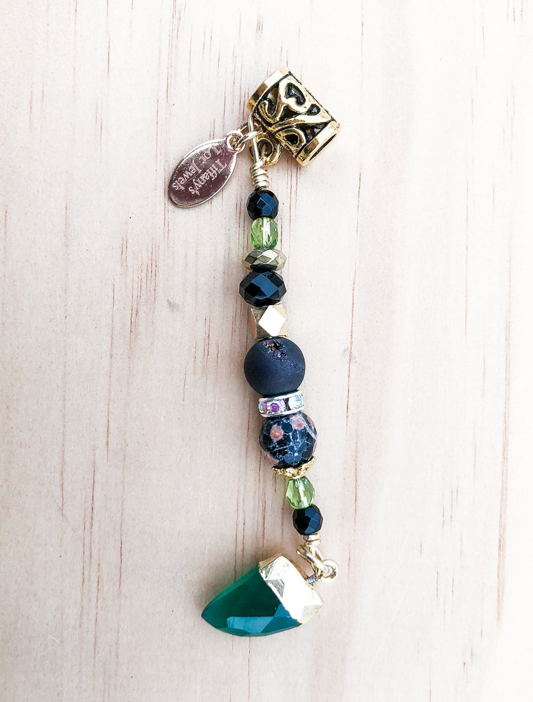 NAKITA Blackstone Green Jade & Black Druzy Loc Jewel - TIFFANY'S LOC JEWELS