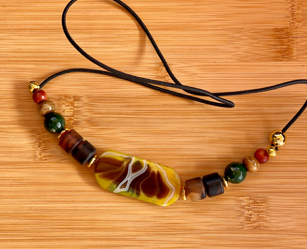 WEIGHTLESS Natural Agate & Brown Onyx Gemstone Hairtie - TIFFANY'S LOC JEWELS