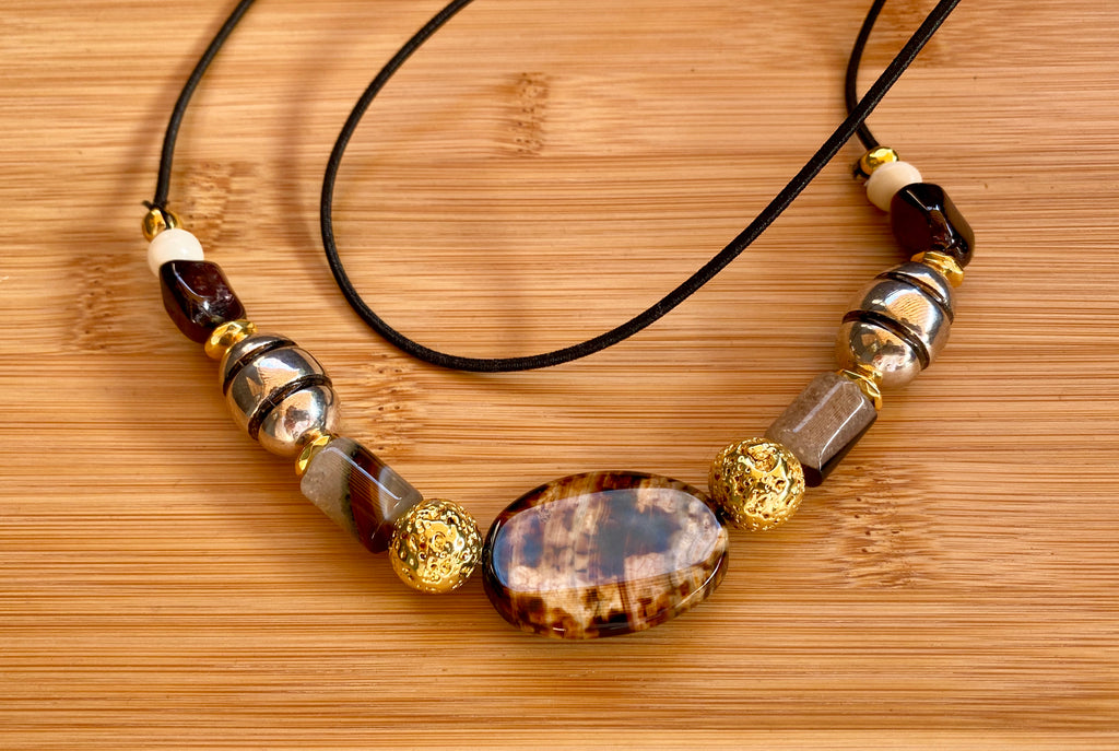 SOLID GROUND Coffee Fire Agate & Garnet Gemstone Hairtie