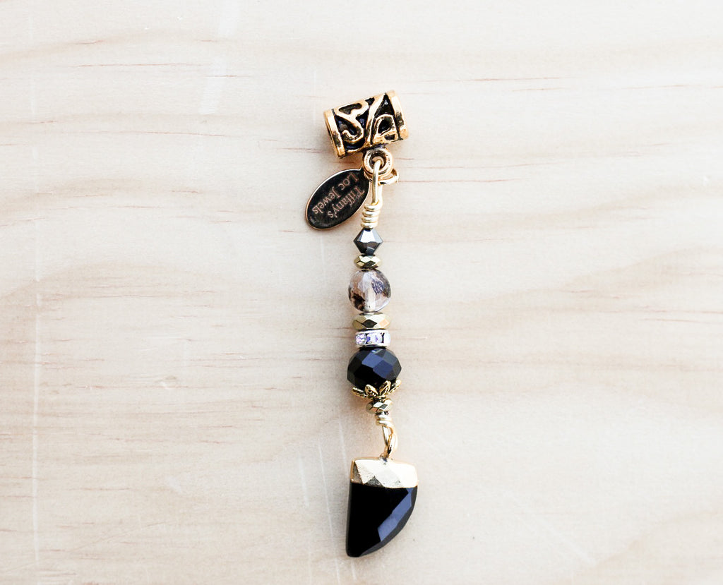 KIZZIE Smoking Cherry Agate & Onyx Horn Loc Jewel - TIFFANY'S LOC JEWELS