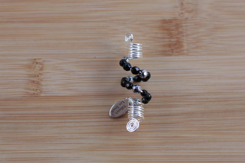 JET BLACK ONYX Loc Jewel in Silver - TIFFANY'S LOC JEWELS