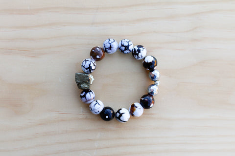 CRUZ ICE FLOWER AGATE BRACELET