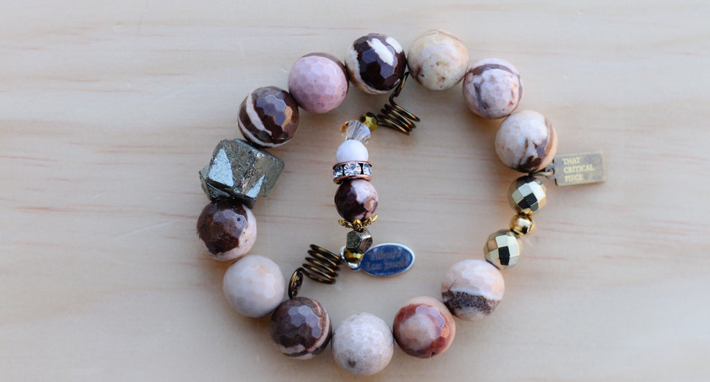 RAW WHITE AGATE & LANDSCAPE JASPER LOC JEWEL - TIFFANY'S LOC JEWELS