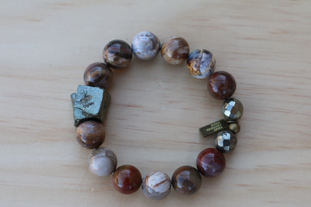 KIHANNA PETRIFIED WOOD JASPER BRACELET - TIFFANY'S LOC JEWELS