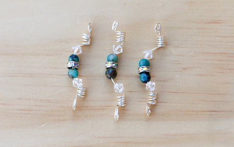 COOL TRIPLE CHRYSOCOLLA SISTERLOCK LOC JEWEL SET