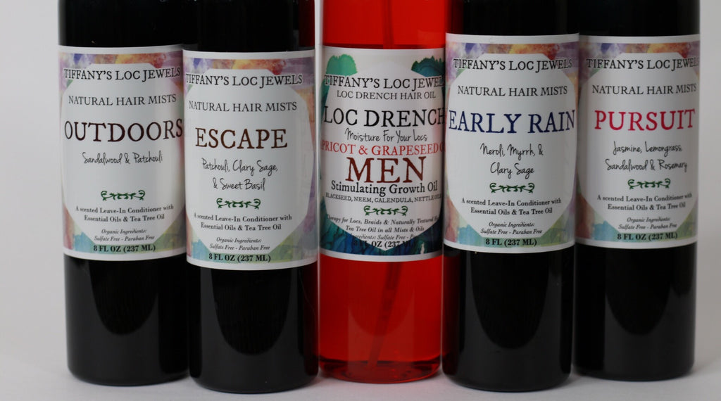 LOC DRENCH MEN'S HAIR OIL & MEN'S NATURAL HAIR MIST SET - TIFFANY'S LOC JEWELS