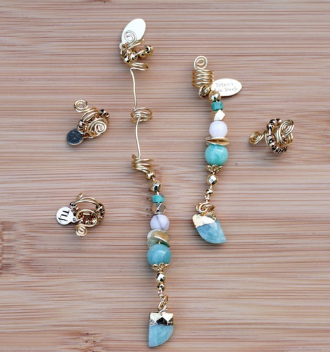 ARTIC BLUE AMAZONITE & PHOENIX AGATE HORN Loc Jewel - TIFFANY'S LOC JEWELS