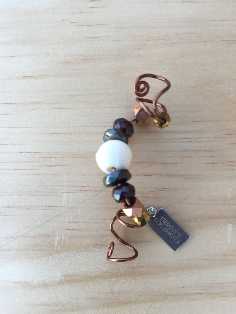 ELEVEN Garnet & Bone Bead Men's Loc Jewel - TIFFANY'S LOC JEWELS