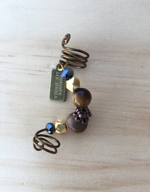 SIX Tiger's Eye & Silkwood Loc Jewel