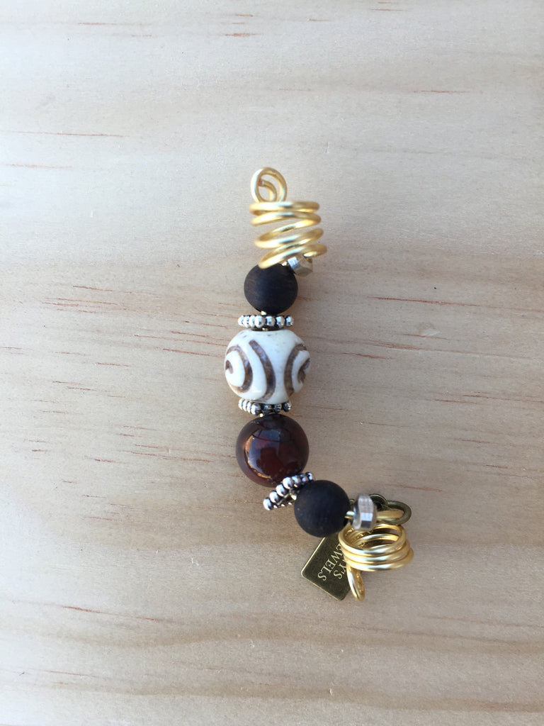 FOUR Tiger's Eye & Waterwood Loc Jewel - TIFFANY'S LOC JEWELS